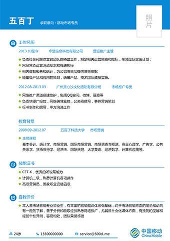 中国移动风格简历模板