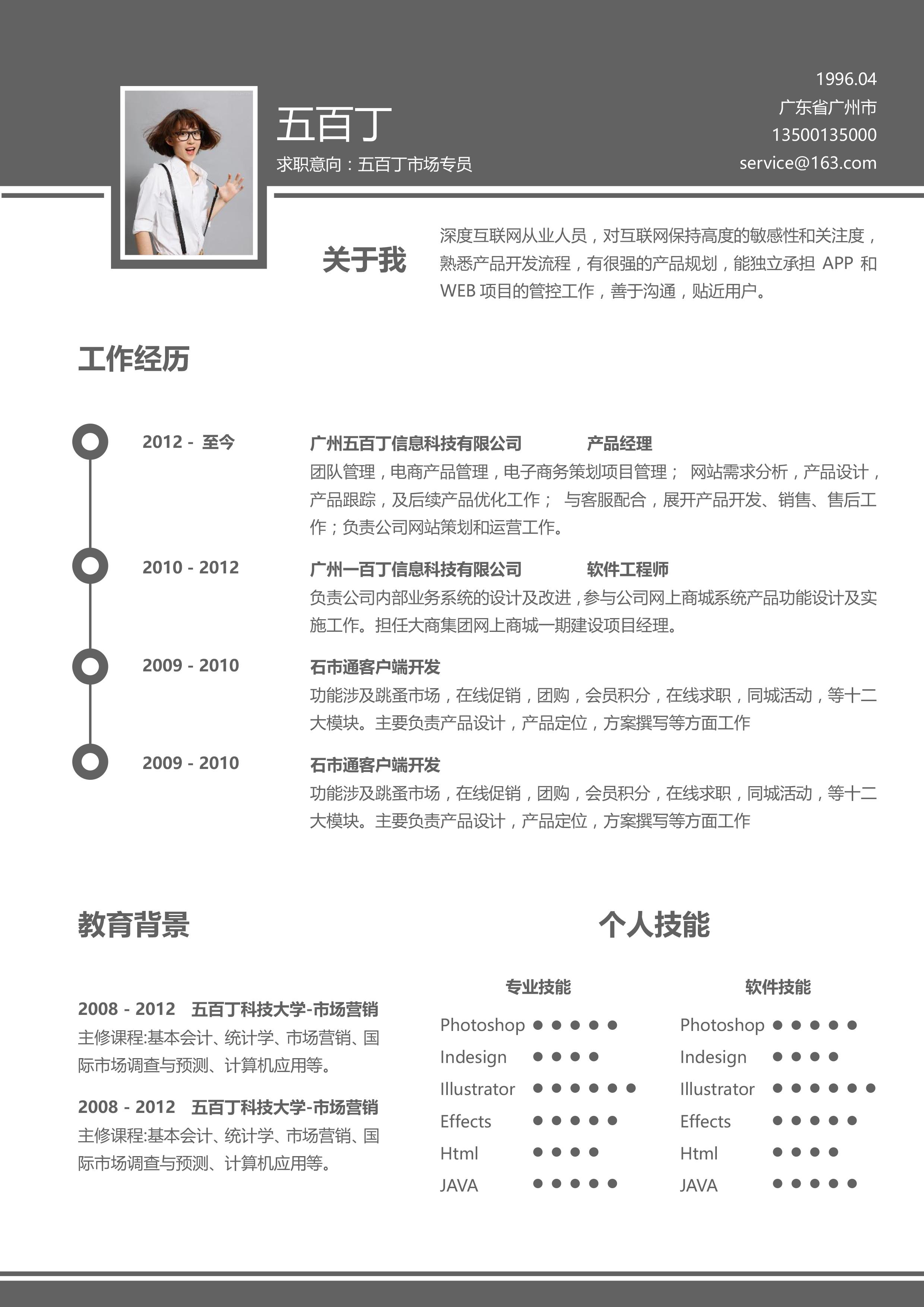 sjs0053 word简历模板图片