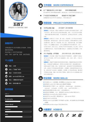 ios 软件开发工程师 WORD简历模板的缩略图
