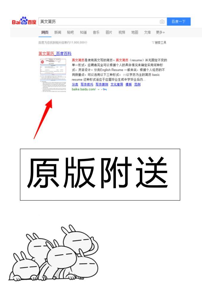 百度百科改进版英文简历