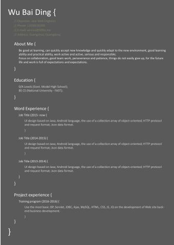 代码风格 程序员英文简历的缩略图
