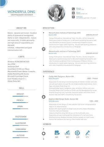 最新受欢迎的英文简历模板