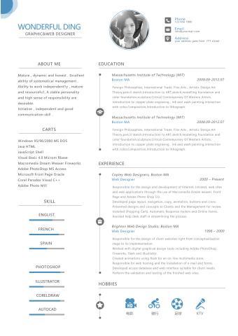 最新受欢迎的英文简历模板的缩略图