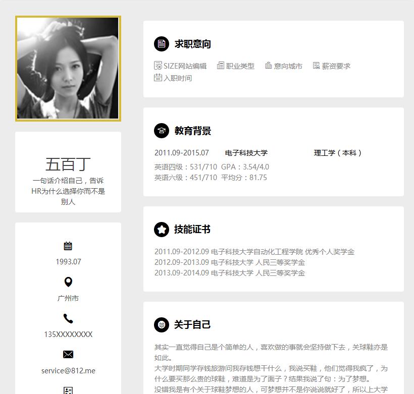 SIZE网站编辑简历模板