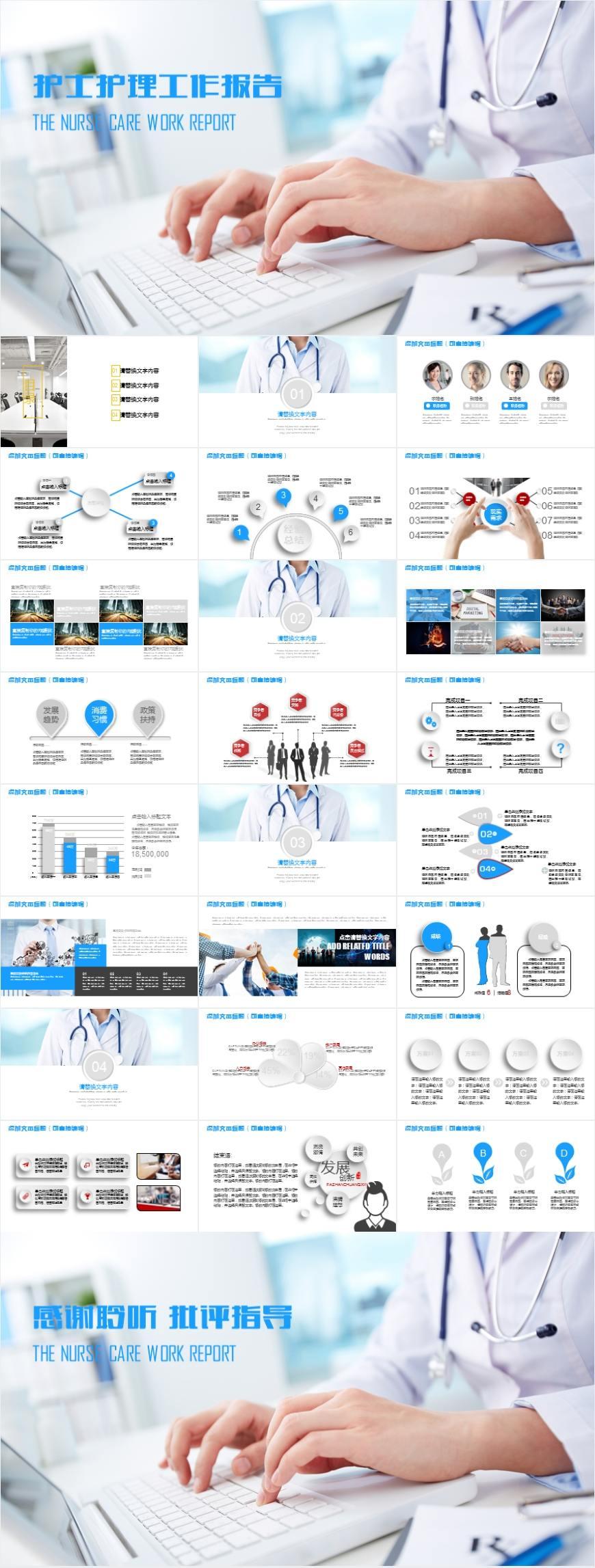 MD0100 护士护理工作报告PPT模板