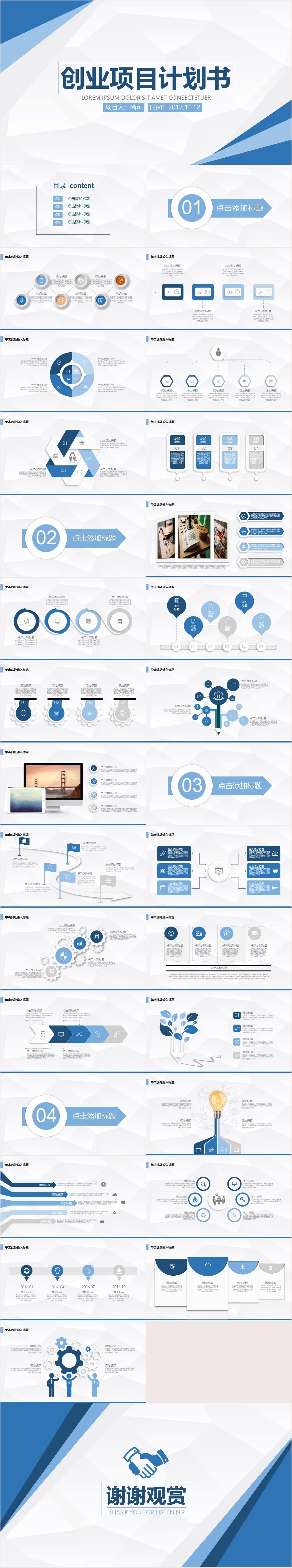 SK0125 创业项目计划书PPT模板
