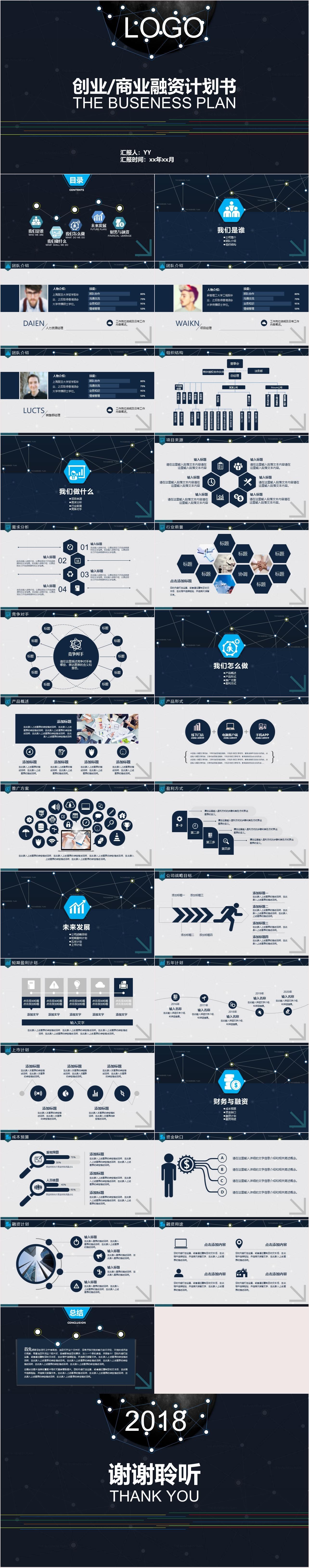 YY0034 商业创业融资计划书PPT模板