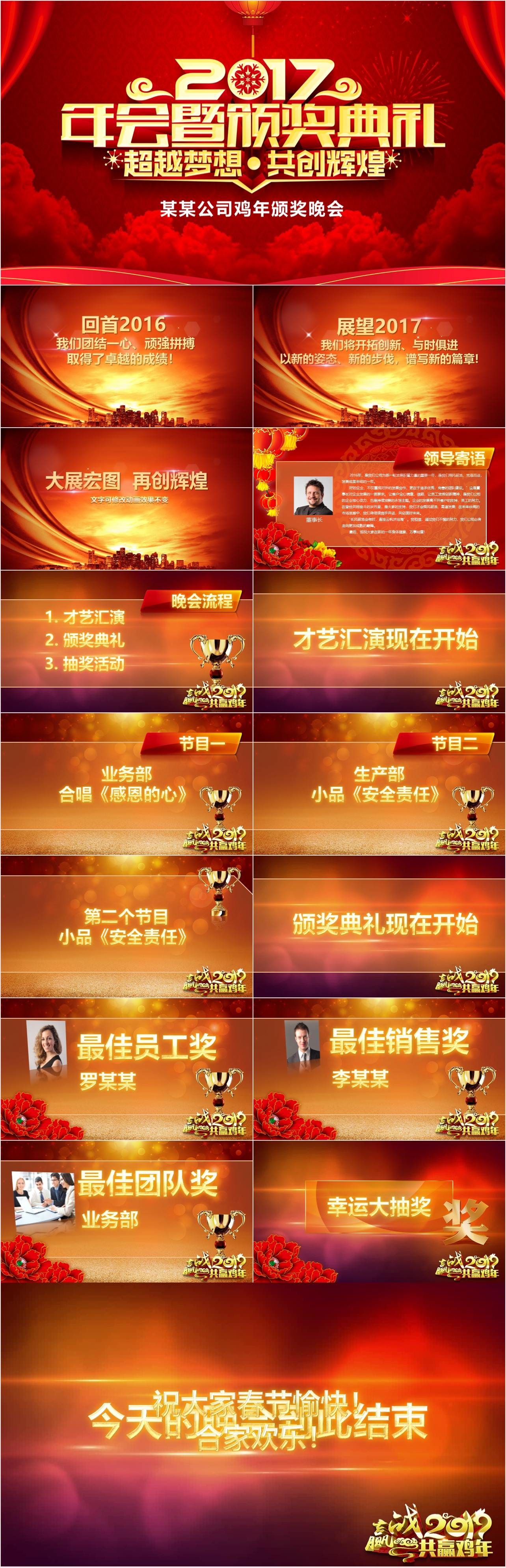 BC0125 鸡年颁奖晚会PPT模板