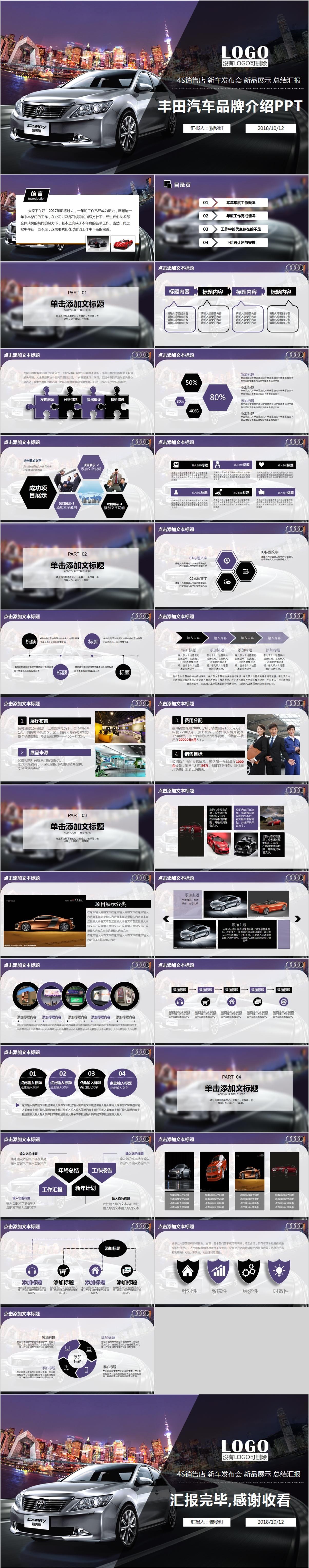 MD0028 丰田汽车品牌介绍PPT模板